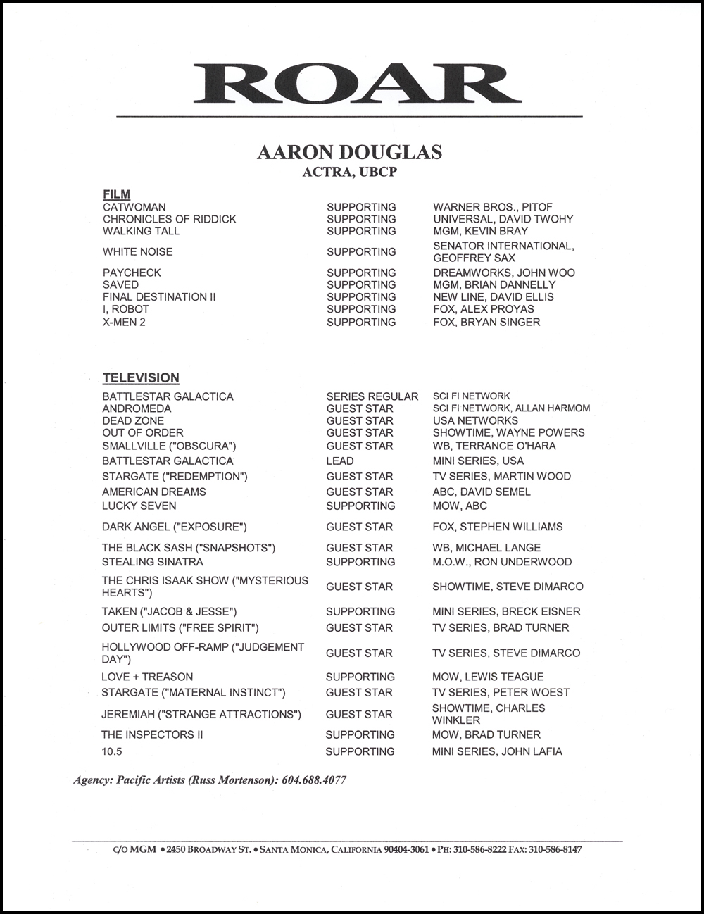 actors resume sample aaron douglas acting resume